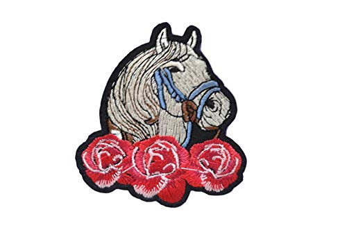 Horse Iron On Patch Applique Wildlife Animal Pony Motif Fabric Scrapbooking Decal 3.2 x 2.8 inches (8.1 x 7.1 cm)