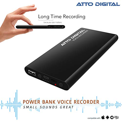 Voice Activated Recorder with Great Battery Life for 15 Days Recording, 94 Hours MP3 Audio Recordings Capacity, Functional Portable Charging Device | powerRec by aTTo Digital