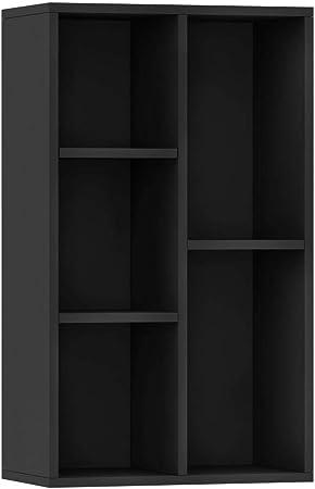 vidaXL Libreria//Credenza Scaffali Versatile Decorativa Mobiletto Arredo Casa Mensole Libri a Giorno Espositore Nero 45x25x80 cm in Truciolato