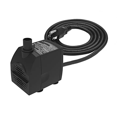Submersible Water Pump 6.1ft Power Cord 200GPH Ultra Quiet Pump with Dry Burning Protection for Fountains, Hydroponics, Ponds, Statuary, Aquariums & More (200 Gph Submersible Pump)