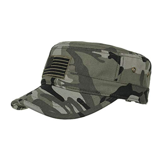(iLXHD Men Flat Top Cap Adjustable Military Cap Washed Cotton Twill Army Cap Camouflage Cadet Caps)