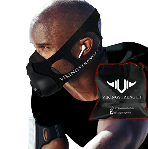 Vikingstrength New 24 Levels Training Workout Mask for Running Biking MMA Endurance with Adjustable Resistance, High Altitude Elevation Mask for Air Resistance Training (Improved Design) (Mask Training Altitude)