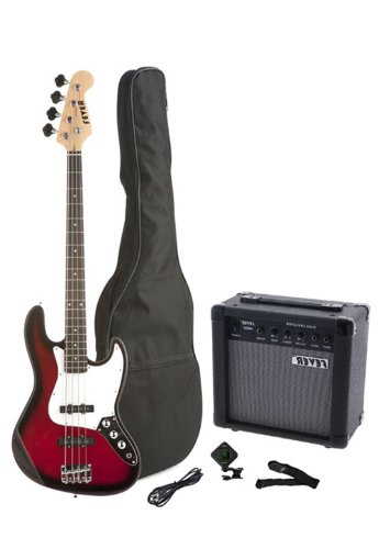 Fever 4-String Electric Jazz Bass Style with 20-Watts Amplifier, Gig Bag, Clip on Tuner, Cable and Strap, Color Red, JB43-20W-RD by Fever