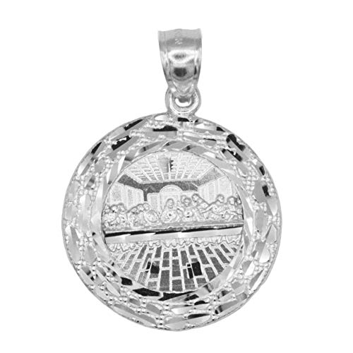 Ice on Fire Jewelry 10k Large White Gold Nugget Last Supper Pendant for Men
