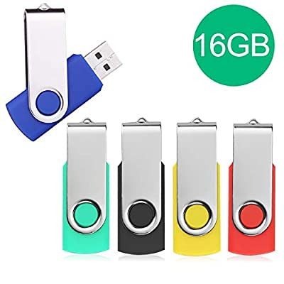 USB Flash Drive,5 Pack Pen Thumb Drives Jump Drive Memory External Storage Stick with Keychain Design & Led Indicator (5 Mixed Color) by JUYUKEJI