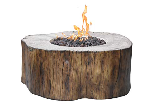 Elementi Manchester Cast Concrete Propane Fire Table, Natural Wood Shape, Outdoor Fire Pit Fire Table/Patio Furniture, 45,000 BTU Auto-Ignition, Stainless Steel Burner, Canvas Cover/Lava Rock -