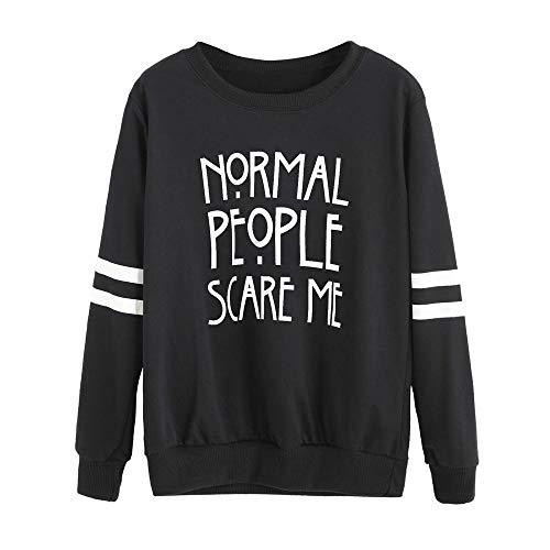 (HGWXX7 Women's Sweatshirt Casual Letter Print Long Sleeve O-Neck Pullover Tops Blouse Shirt(L,Black) )