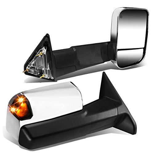 For Dodge Ram Pair of Chrome Powered + Heated Smoked Signal Glass + Foldable Side Towing Mirrors