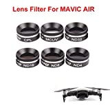 Joint Victory 6 pcs Camera Lens HD Clear Filter Sets MCUV Ultraviolet CPL Circular Polarizer ND4 ND8 ND16 ND32 Neutral Density Filters Parts Dimmer Kit for DJI Mavic Air (ND4+ND8+ND16+ND32+MCUV+CPL)