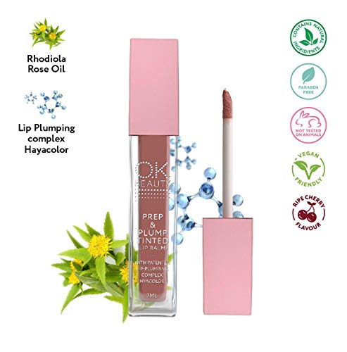 Plumping Lip Balm - 100% Natural Tinted Clear Organic Lip Balm Moisturizer with Rose Extract Labels for Women - Best Full Volume Plump Power Treatment for Fuller Glossier Lips - OK Beauty