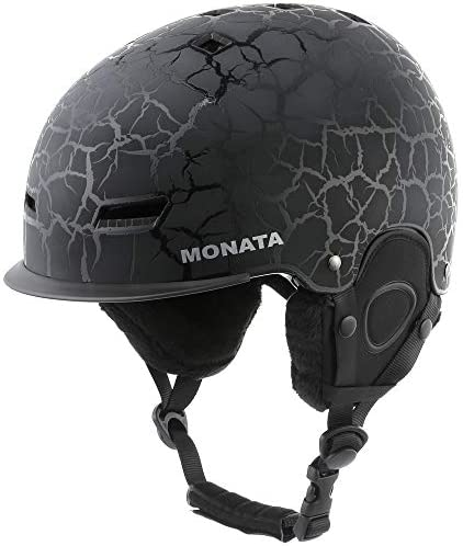 MONATA Adult Ski Snowboard Helmet for Men and Women Winter Snow Sports Protect – Adjustable Large Size 23.22-24 Inches Black