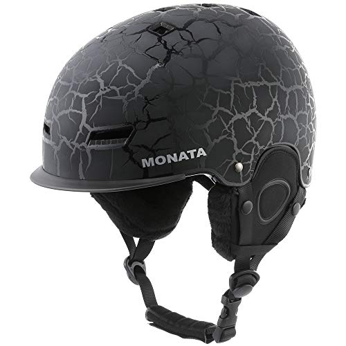 MONATA Adult Ski & Snowboard Helmet for Men and Women Winter Snow Sports Protect - Adjustable Large Size 23.22-24 Inches(Black)