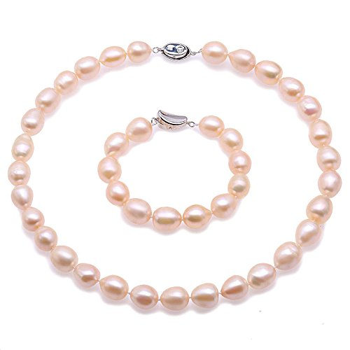 JYX Jewelry Set Real 11-12mm Pink Oval Freshwater Pearl Necklace&Bracelet (Bracelet Pink Pearl Real Necklace)