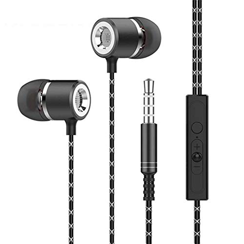 Moxil Original 3.5MM Metal in-Ear Wired Earphones HiFi Stereo Bass Earbuds Headphones with Microphone for Phone Computer Headset