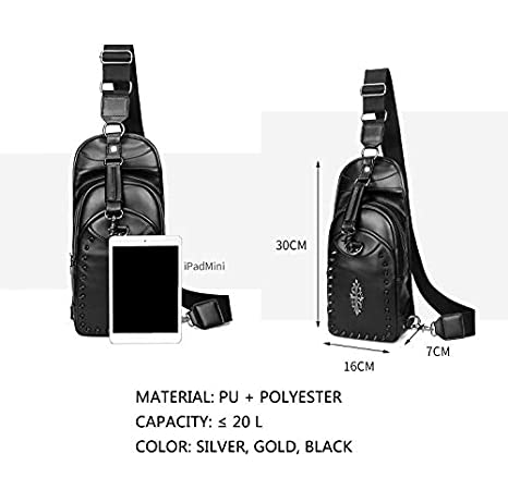 RAPIDLY Unisex Waterproof Chest Shoulder Crossbody Hiking Backpack Pu Rivet Sling Bag