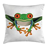 Lunarable Animal Throw Pillow Cushion Cover, Cute Illustration of Big Red Eyed Tree Frog on Simple Background Kids Cartoon Print, Decorative Square Accent Pillow Case, 28 X 28 Inches, Green White