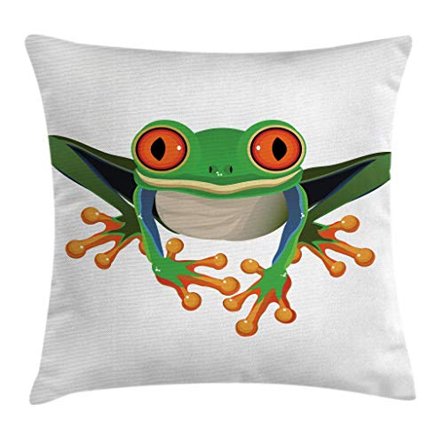 Lunarable Animal Throw Pillow Cushion Cover, Cute Illustration of Big Red Eyed Tree Frog on Simple Background Kids Cartoon Print, Decorative Square Accent Pillow Case, 28 X 28 Inches, Green ()