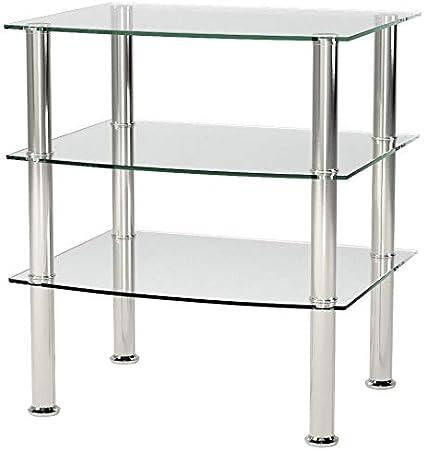 Haku M/öbel Tavolino 45X54X61 cm Acciaio Inossidabile Vetro Nero