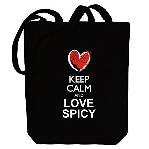 Tote Idakoos love and Canvas style spicy chalk Bag Keep calm Adjectives FwFqpzB