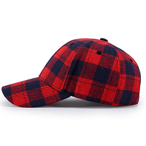 - Baseball Plaid Cap, Men Women Snapback Hip Hop Polo Adjustable Casual Hat For Running, Workouts and Outdoor Activities (Free Size, Red)