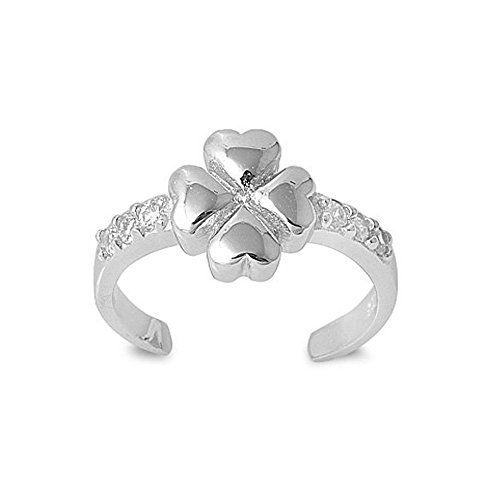 Sterling Silver Stylish Four Leaf Clover Toe Ring, Width 7 MM (Stylish Ring Toe)