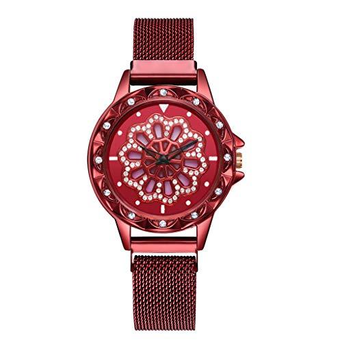 LUCAMORE Luxury Flower Diamond Ladies Watch Mesh Stainless Steel Band Watch Women Rotary Timepiece Female Watch