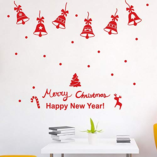 ZOMUSAR Wall Stickers for Living Room, Merry Christmas Sweet Holiday Scene Setters Party Decorations Wall Stickers (Red)