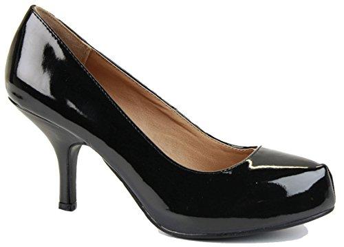 shoegeeks Ladies Womens Work Casual Office Smart Low Mid High Kitten Stiletto Heels Bridal Court Bridesmaid Shoes Pumps Size 3-8 Black Pt