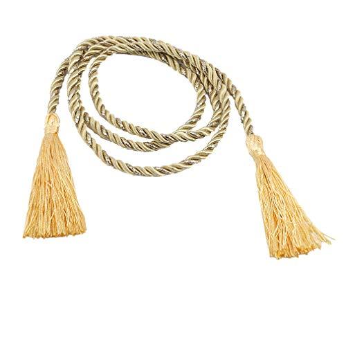 Cord Backs Tie (Dolland Curtain Tassel Tiebacks Decorative Rope Hand Knitting Buckle Cord Tie Backs Holdbacks Window Curtain Supplies,Golden)