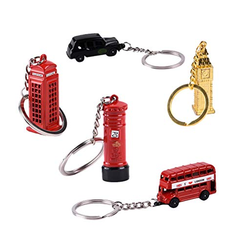 Toyvian London City Keychain Die Cast Metal Keyrings Traveling Souvenirs Heritage Key Holder Set 10pcs (Postbox + Phone Booth + Red Bus + Black Car + Big Ben, 2pc for Each Style)