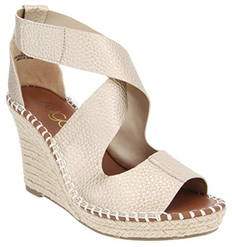 Sugar Women's Hazee Espadrille Wedge Sandal with Cross Straps and Adjustable Closure 9 Gold Pebbled Metallic