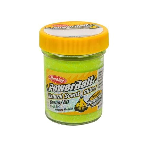 PowerBait FW Natural Garlic Scent Glitter Trout Fishing Bait (Chartreuse) by Berkley Glitter Trout Bait