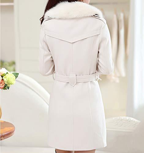 Double Longues Mélange Manches Laine Manteau Trench Breasted Chaud Caban Veste D'hiver De Blouson Femme Blanc Yqz0wxtz