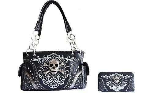 kull concho stitched handbag purse set (black) (Black Stitched Handbag)