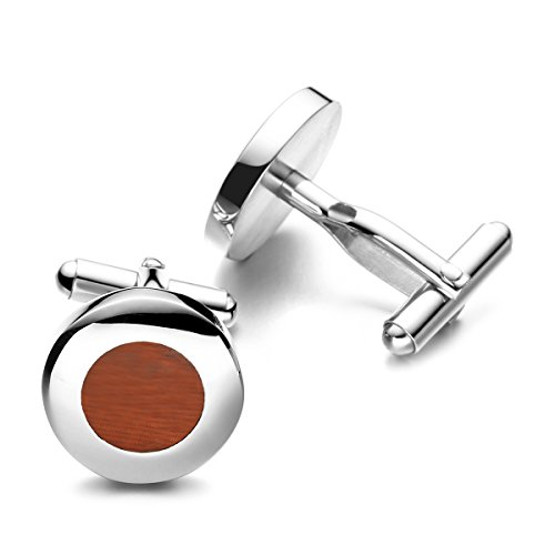 PenSee Mens Rare Cuff Link Stainless Steel & Red Wood Cufflinks-Various Styles (Red Wood -Round)