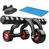 Ranbow Core Fitness AB Roller Pro Wheel Home Workout Machine Abdominal Carver with Kneepad & Floor Stopper, Supports 400 lb, Black & Red