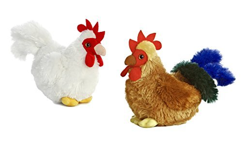 Aurora Mini Flopsie Bundles Bundle of 2 6 Floppy Beanbag Chicken & Rooster Stuffed Animals - New Chicken & Cocky Rooster, Multicolor -