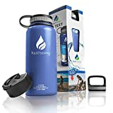 Liquid Savvy 32 oz Insulated Water Bottle with 3 lids - Stainless...