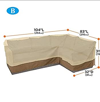 210D Long Sofa Cover 264210CM,Patio Furniture Set Cover Outdoor Sectional Sofa Set Covers Outdoor Sectional Furniture Cover Taimot Patio Sofa Cover Waterproof Garden Couch Cover L-Shaped