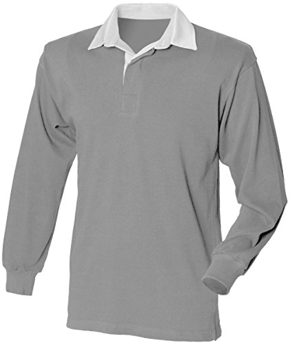 Lunapier Men's Long Sleeve Solid Rugby Shirt in Heather Gray (2X, Heather Gray)