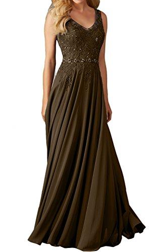 schleppe Ausschnitt Spitze Damen Schokolade Abendkleider Lang Linie A Einfach Promkleider Ballkleid V Festkleid Ivydressing Ix7T1Sw
