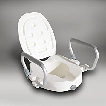 Toilet Seat Riser With Arms.Homcom Medical Raised Toilet Seat Riser With Lid Lock And Removable Arms