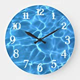 White Splash Numbers Blue Swimming Pool Large Wall Clock Decor for Bedroom Nursery Round Silent Wood Clock Art for Kids Girls Boys Room 16 Inches