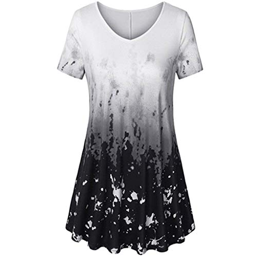 vermers Clearance Fashion Plus Size Clothing for Women Womens Printed Flare Sleeve Tops Blouses Keyhole T-Shirts(5XL, z1-Black) ()