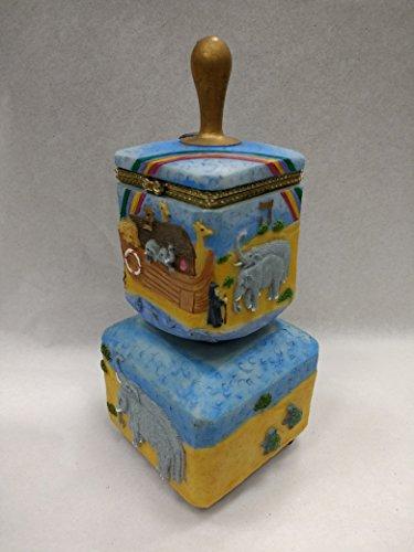 (Decorative Musical Dreidel Hinged Box - Plays Dreidel Song, Hand Painted (Noah's Ark))
