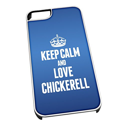 Bianco cover per iPhone 5/5S, blu 0145 Keep Calm and Love Chickerell