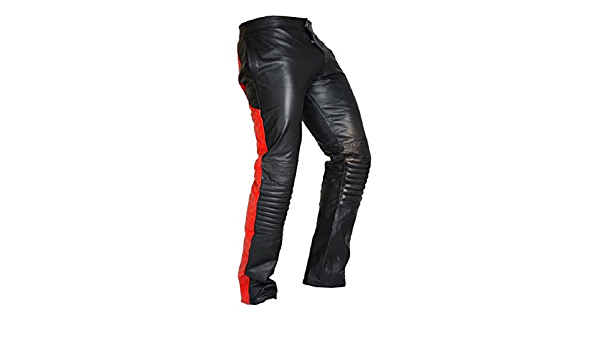 Leather Pants Real Jeans Mens Premium Red New Stitches Men S Motorcycle Style 11