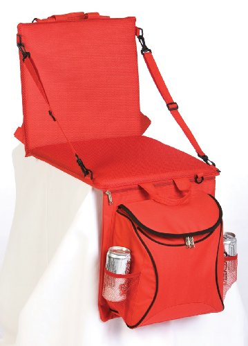 - Picnic Plus Portable Stadium Seat with Cooler and Shoulder Straps, Red