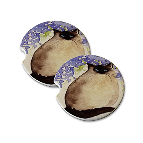 Natural Sandstone Car Drink Coasters (set of 2) - Himalayan with Wisteria Cat Art by Denise Every ()