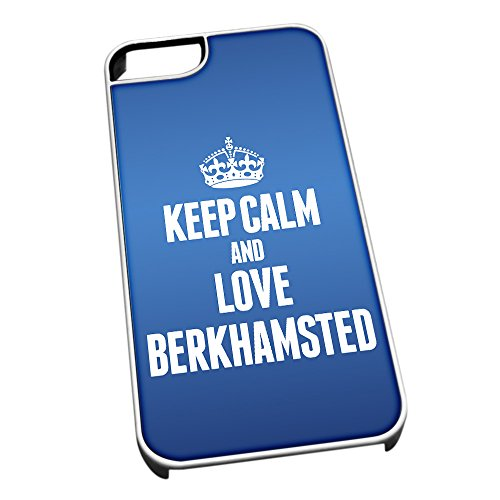Bianco cover per iPhone 5/5S, blu 0060 Keep Calm and Love Berkhamsted